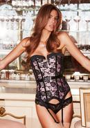 Satin And Lace Corset Pnk/blk L