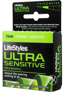 Lifestyles Condom Ultra Sensitive Lubricated 3 Pack
