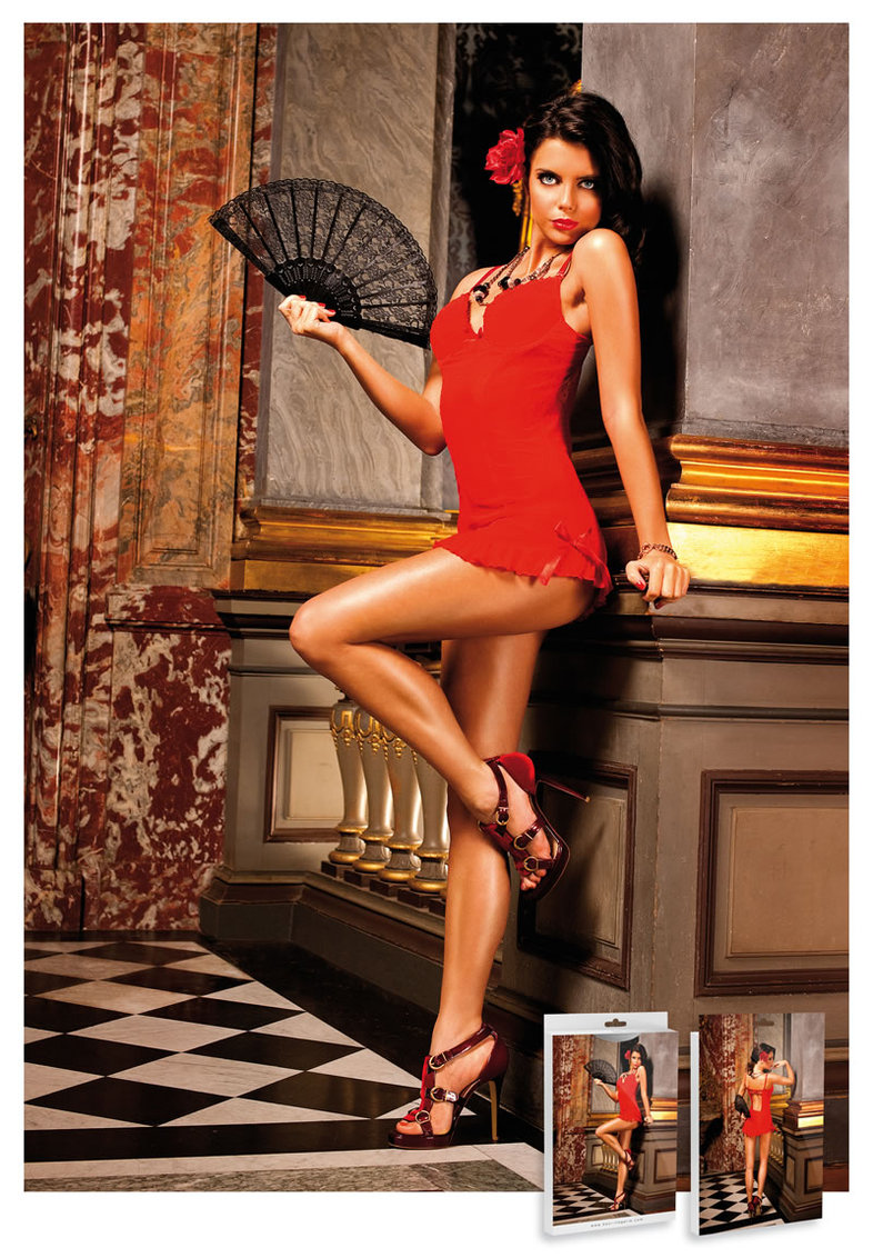 Mesh Chemise With Bows Red (disc)