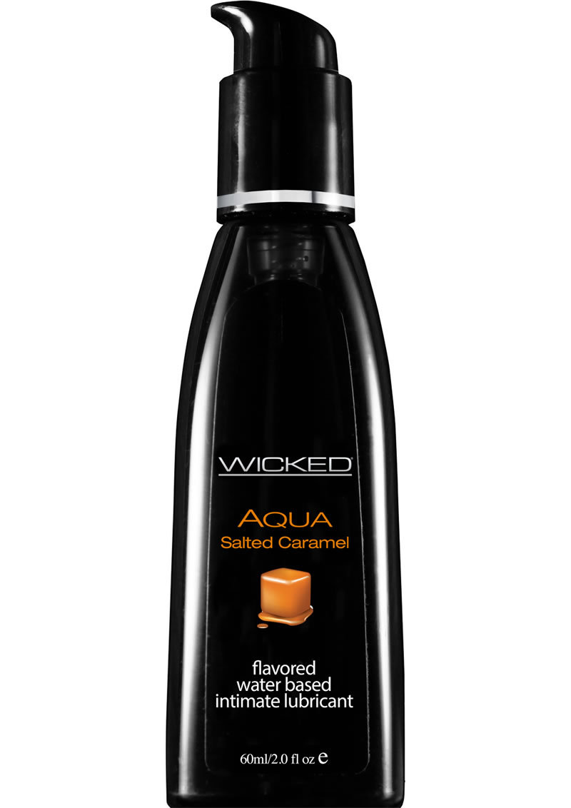 Wicked Aqua Water Based Flavored Lubricant Salted Caramel 2 Ounce
